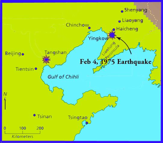 CHINA EARTHQUAKE THE EARTHQUAKE OF FEBRUARY IN HAICHENG - Haicheng map