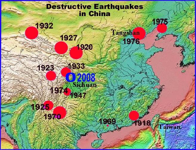 Destructive Earthquakes in China in the 20th Century in relation to the most