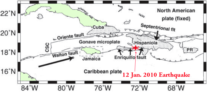 concentrated in Jamaica as shown by the epicenters of earthquakes in one